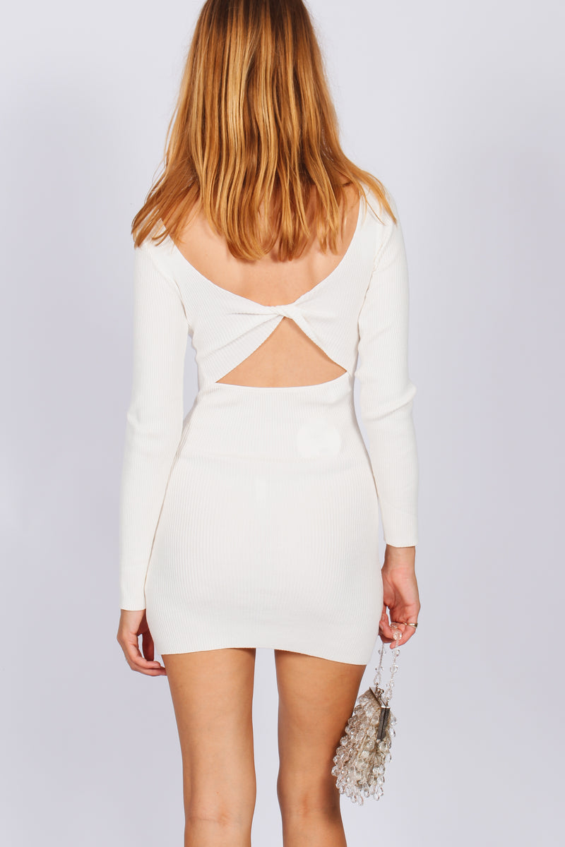 Louie Twist Back Mini Dress- White