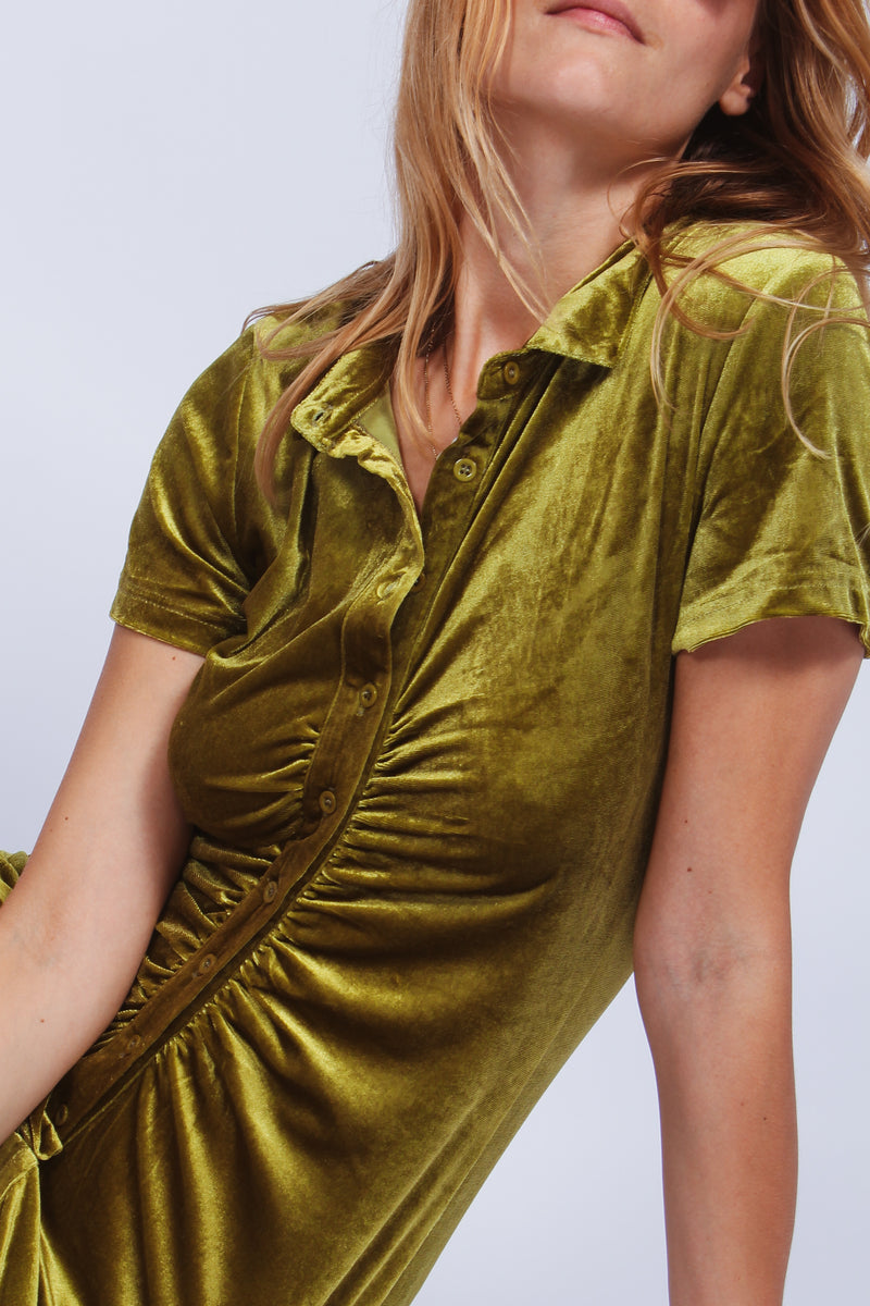 Jeanie velvet dress- green