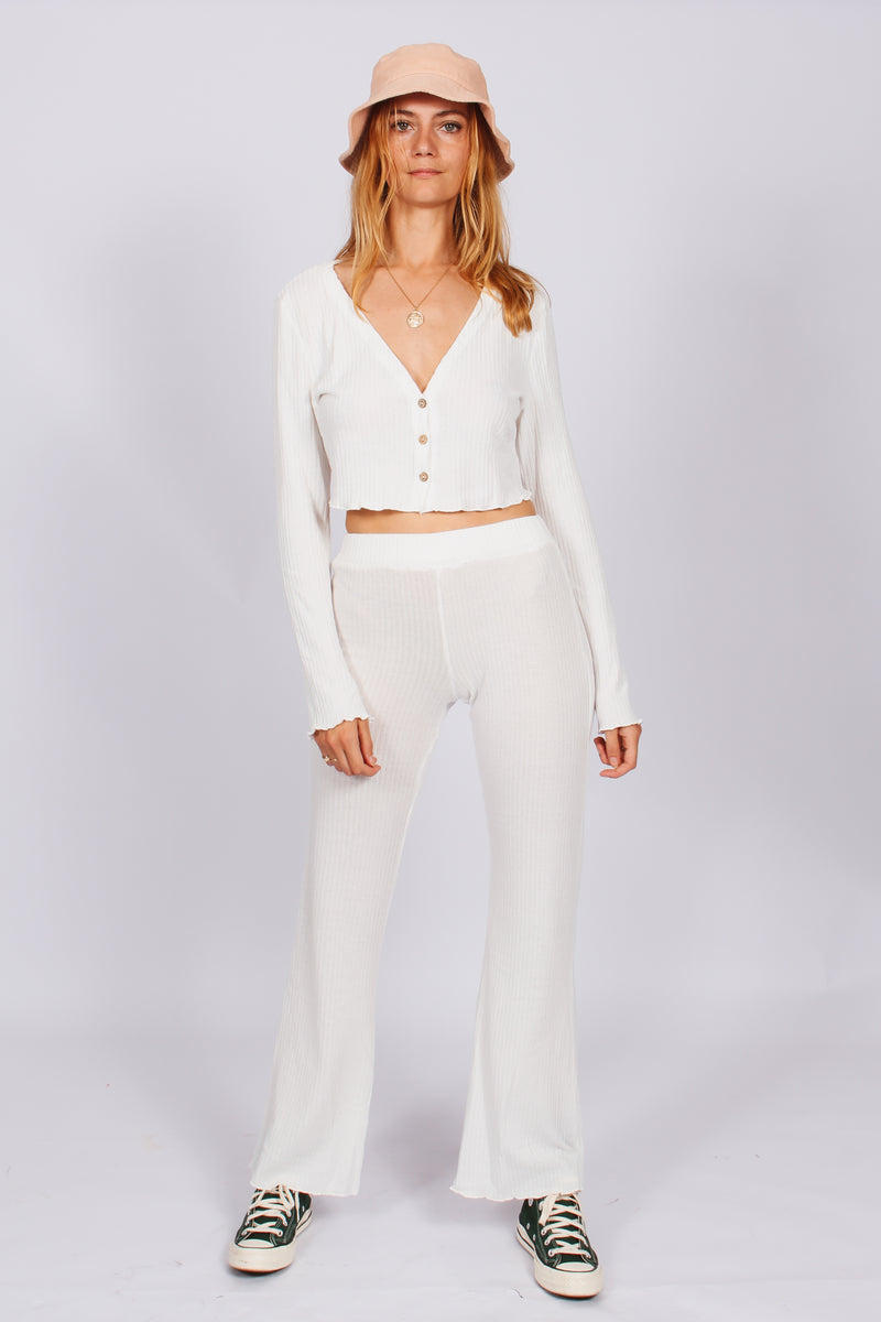 Staple Ribbed Relaxed Flares- White