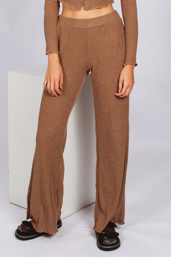 Staple Ribbed Relaxed Flares- Brown