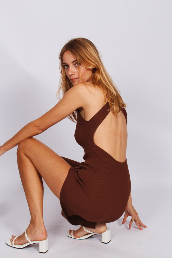 Francis Cross Back Midi Dress- Brown