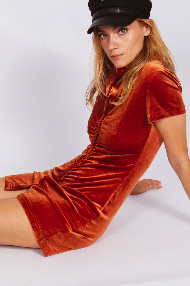 Jeanie velvet dress- rust