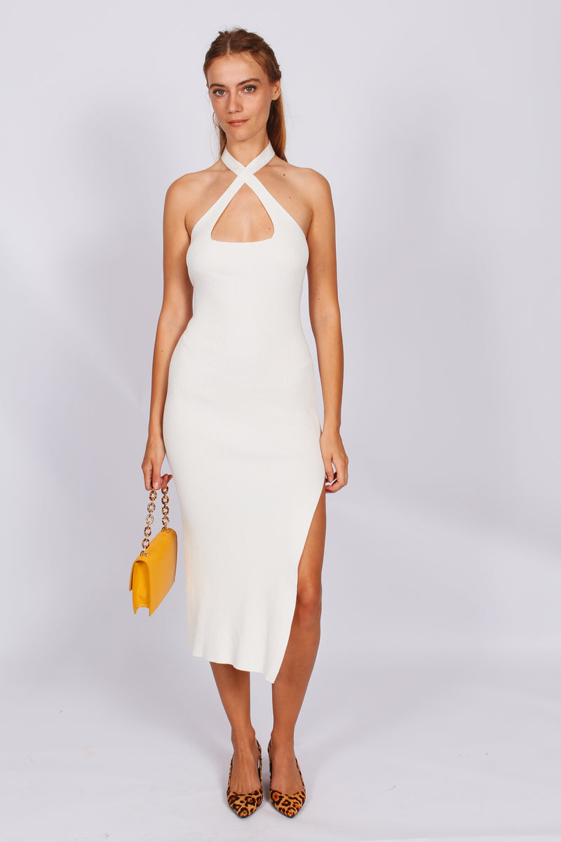 Crystallised Cross Front Midi Dress- White