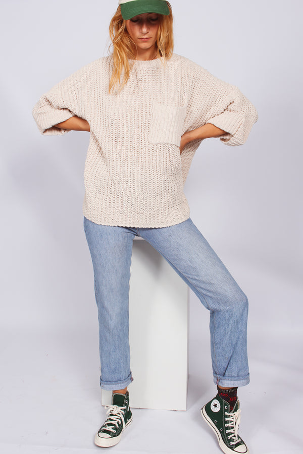 Marshmallow Oversized Pocket Jumper- Beige