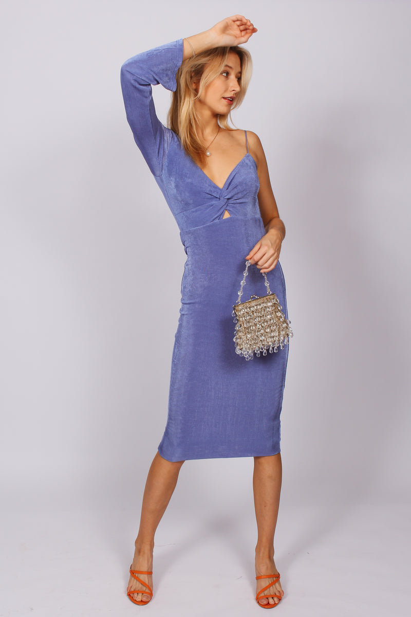 Celeste One Shouldered Slinky Dress- Blue
