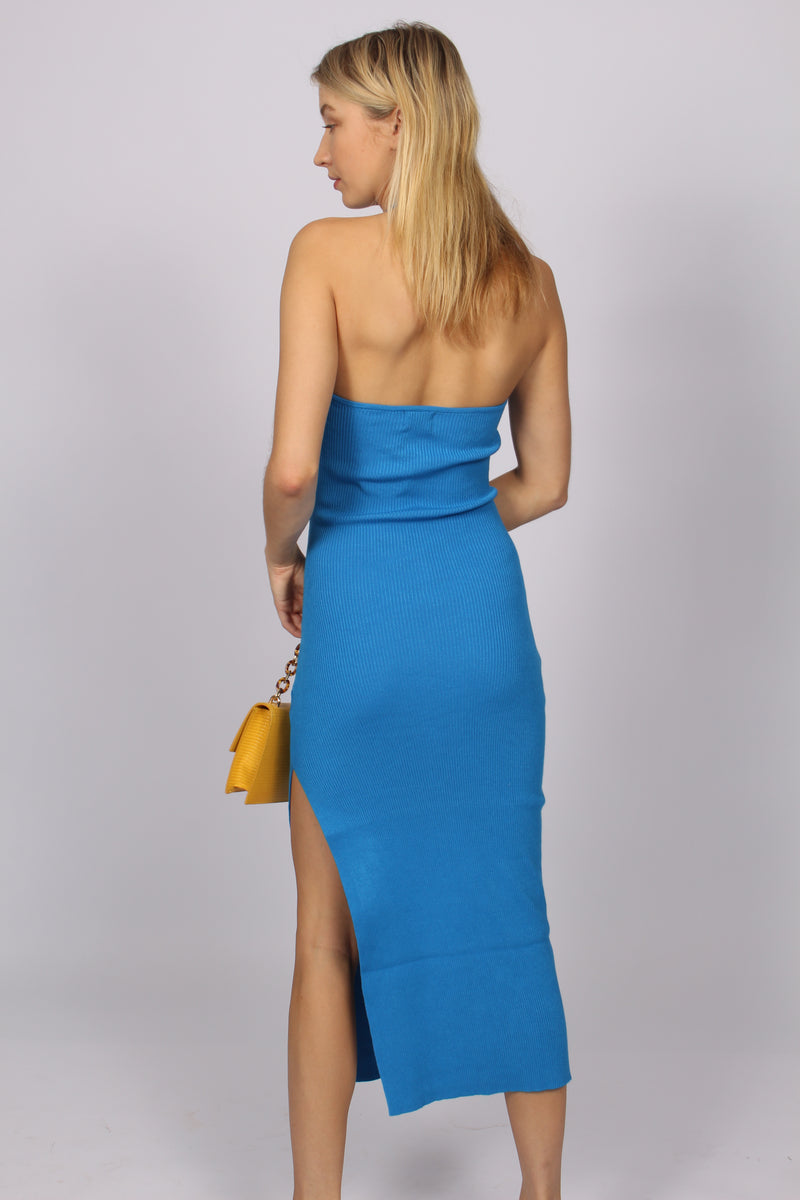 Celine Halter Midi Cut Out Dress- Blue