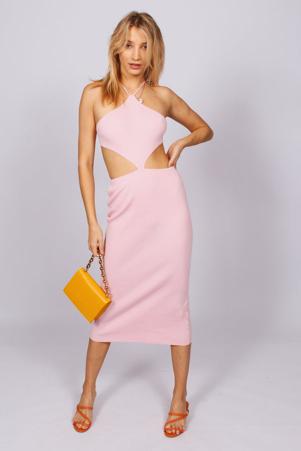 Riviera Halter Cut Out Dress- Pink