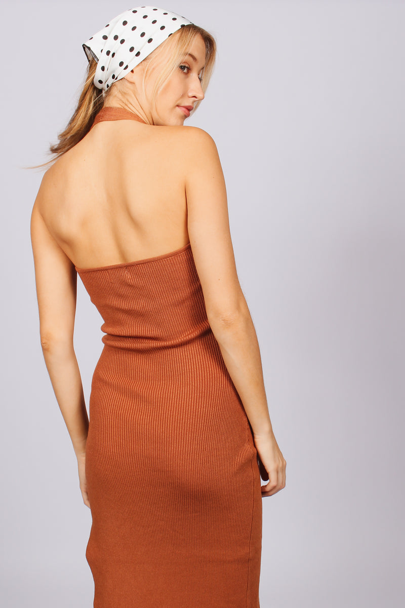Celine Halter Midi Cut Out Dress- Chocolate