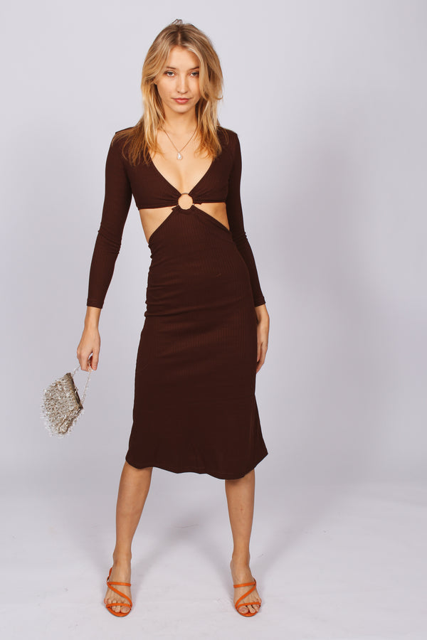 New Rules Ribbed Cut Out Maxi Dress- Brown