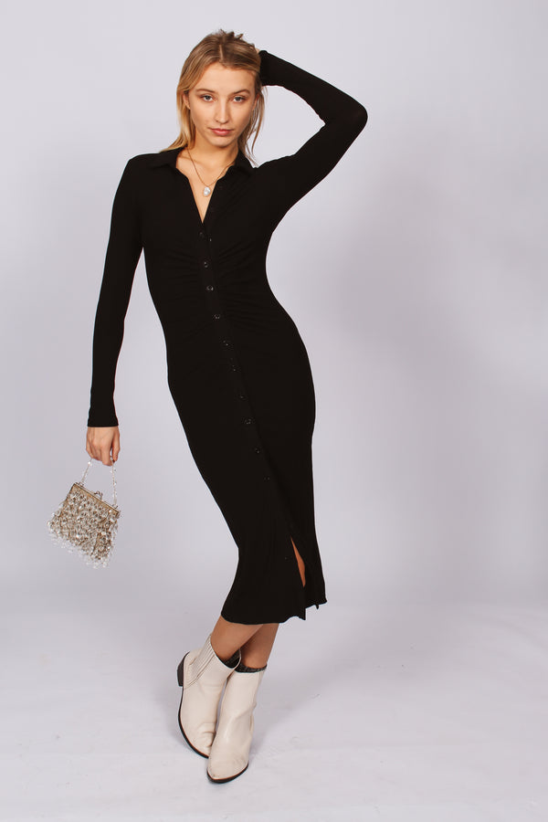 Janice Button Down Ribbed Midi Dress- Black