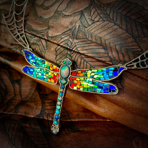 Caught in the Web Dragonfly Necklace