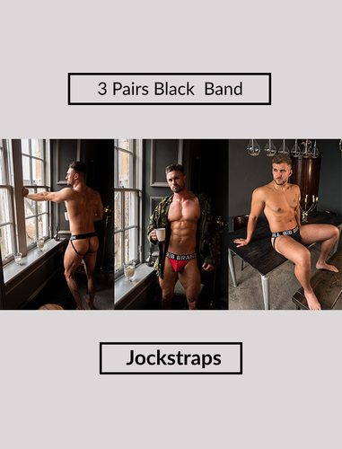 3 Pairs of Black Band-Jockstraps Mixed Fronts