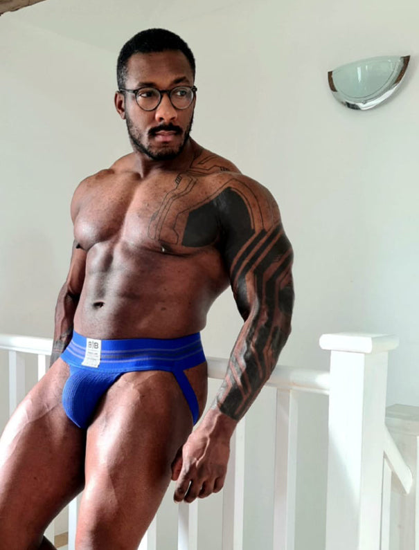 Blue High Waist Big-Band Jockstrap
