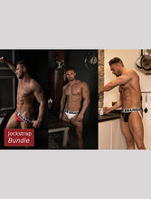 Load image into Gallery viewer, 3 Pairs of White Band-Jockstraps Mixed Fronts