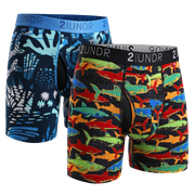 Swing Shift Boxer Brief 2 Pack - Coral - Shark