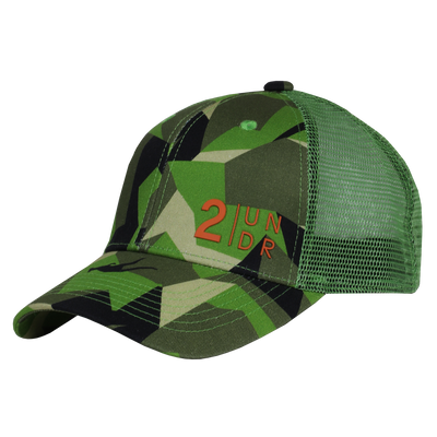 Snap Back  Mesh Print Hat - Green Camo