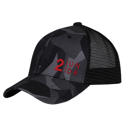 Snap Back  Mesh Print Hat - Black Camo