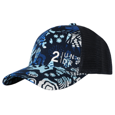 Snap Back  Mesh Print Hat - Coral Reefer