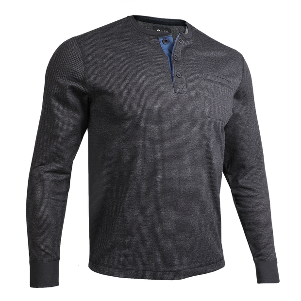 Long Sleeve Pocket Henley Pullover - Black/Grey