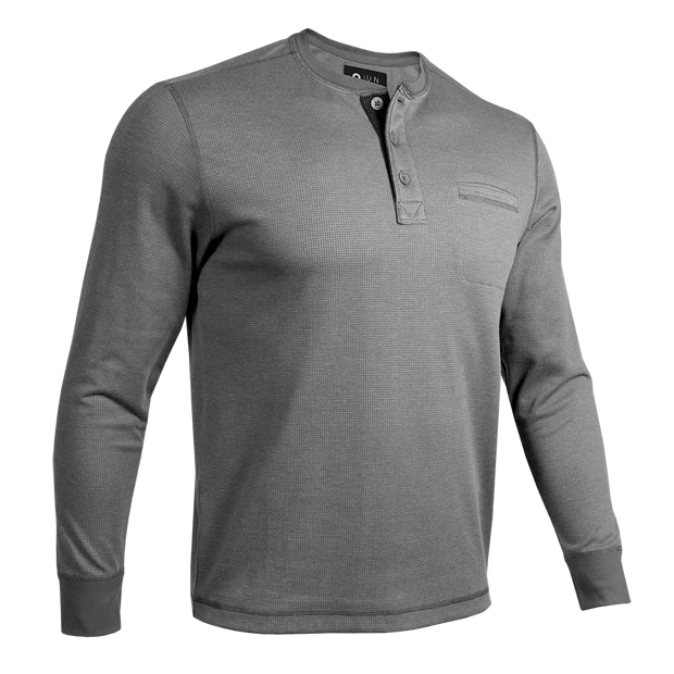 Long Sleeve Pocket Henley Pullover - Grey/Grey