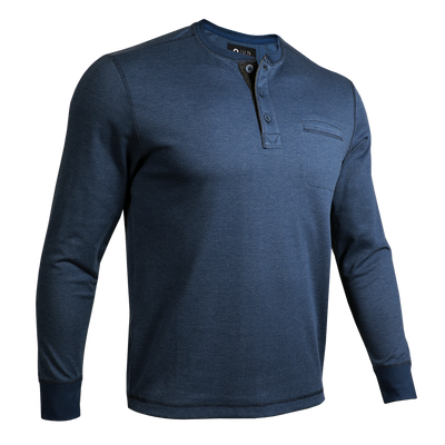 Long Sleeve Pocket Henley Pullover - Navy/Grey