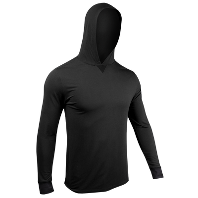 Long Sleeve Hooded Tee - Black