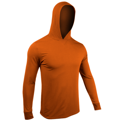 Long Sleeve Hooded Tee - Deep Orange