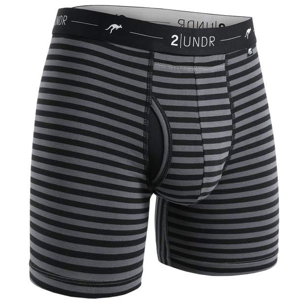 Day Shift Boxer Brief - Black/Grey Stripes