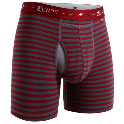 Day Shift Boxer Brief - Burgundy/Grey Stripes