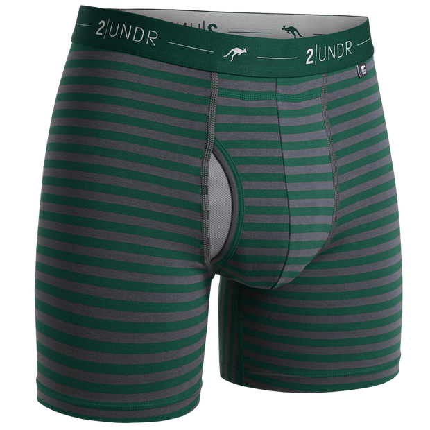 Day Shift Boxer Brief - Dark Green/Grey Stripes