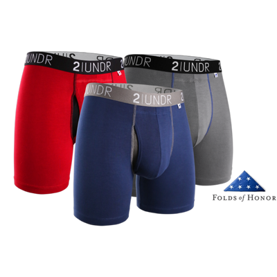 Swing Shift Boxer Brief 3 Pack - Navy/Grey/Red - Folds of Honor