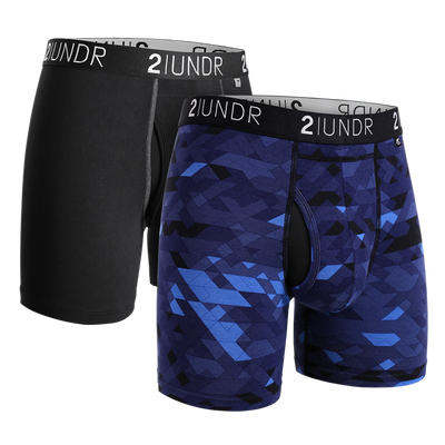 Swing Shift Boxer Brief 2 Pack - Black/Grey - Geode