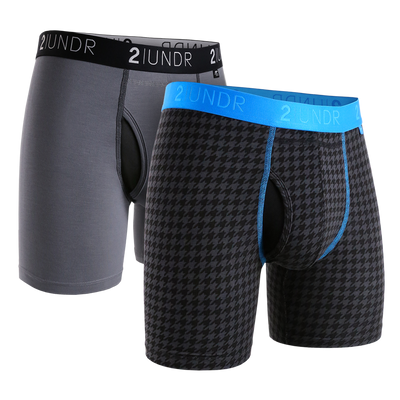 Swing Shift Boxer Brief 2 Pack - Grey/Black - Dog Tooth