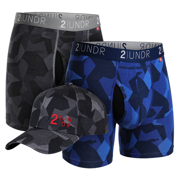 Swing Shift Boxer Brief - Black Camo - Blue Camo Combo Pack