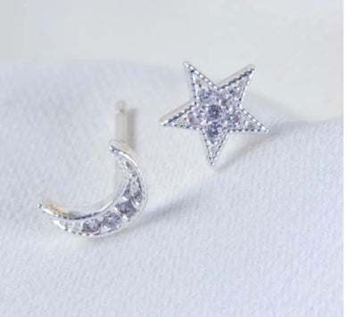 Mismatched Moon & Star Studs, Silver