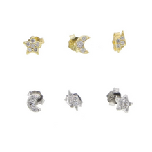 Load image into Gallery viewer, Ella Celestial 3 Stud Pack, Gold or Silver. Buy one set, get second set 50% off