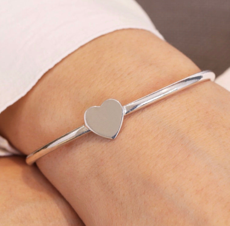 Sasha Heart Bangle, Available in Rose Gold & Silver