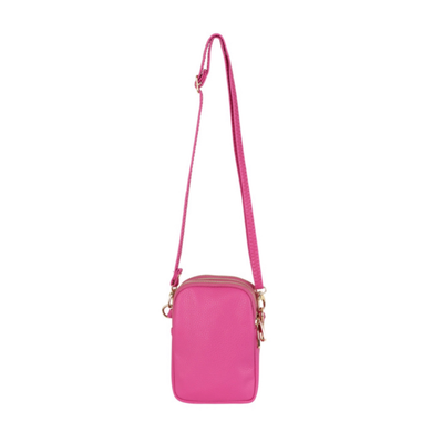 Triple Zip Mini Dolly Cross Body Bag, Fuschia