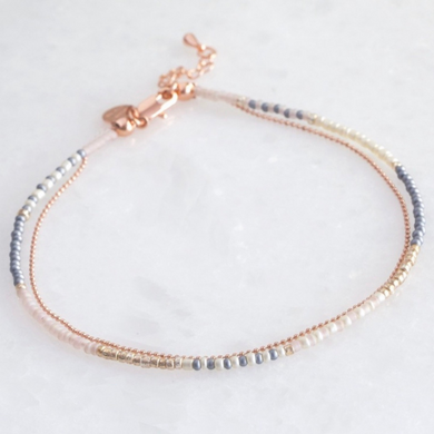 Layered Anklet Rose Gold & Grey Anklet