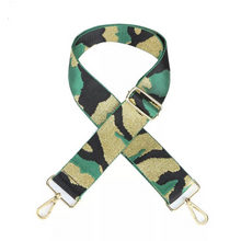 Load image into Gallery viewer, Green, Gold & Black Camo Bag Strap