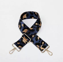 Load image into Gallery viewer, Navy Cheetah Bag Strap