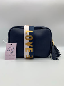 Navy Dolly Single Zip Cross Body Bag