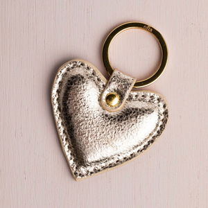 Sasha Heart Keyring, Gold Metallic
