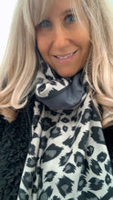 Load image into Gallery viewer, Leopard Print Scarf, Grey