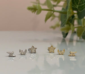 Ella Celestial 3 Stud Pack, Gold or Silver. Buy one set, get second set 50% off