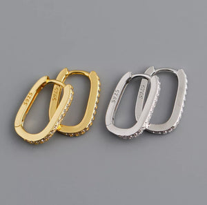 Oval Huggie Hoops with Clear Stones, Silver