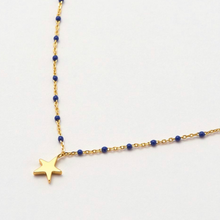 Load image into Gallery viewer, Willa Star Enamel Necklace, Gold & Navy