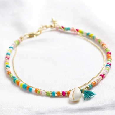 Rainbow Beaded MichShell Charm Anklet