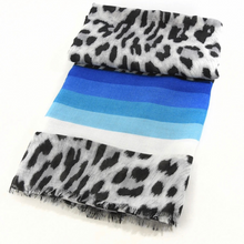 Load image into Gallery viewer, Leopard Print Scarf, Blue Stripe