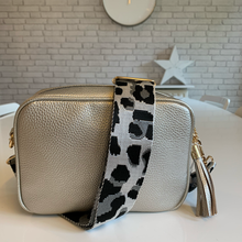 Load image into Gallery viewer, Silver & Grey Cheetah Bag Strap